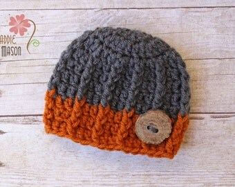 RUSH READY to SHIP - Sweet and Simple Textured Burtton Beanie, Newborn Photography Prop, Gray and Burnt Orange