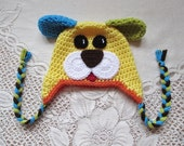 Yellow, Green, Turquoise and Orange Short Ear Puppy Crochet Hat - Photo Prop - Available in Any Size or Color Combination