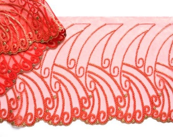 Red and Gold Embroidered Trim,  Fancy Metalic Gold, Red Lace Trim, Couture Sewing,  Formal Wear Trim, Professional Costume, Dance Costume