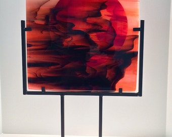 Spectacular Red Sunset Contemporary Modern Art Glass Sculpture