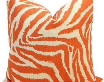 Diane von Furstenberg Orange Zebra Pillow Cover 18x18, 20x20, 22x22 or lumbar - Accent Pillow - Throw Pillow, Funky Zebra in Sunset