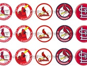 "1"" St. Louis Cardinals Baseball Bottle Cap Image Sheets Party Favors Cupcake Topper Magnet Stickers Printables Bottlecap Instant Download."