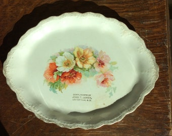 1920s cottage chic pink Dresden floral plate gold gilt scalloped edge- Lesterville South Dakota-John Janda-Give Away antique collectible