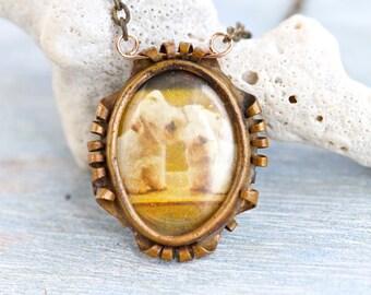Antique Brass Photo Locket Necklace - Vintage Keepsake Pendant on Chain