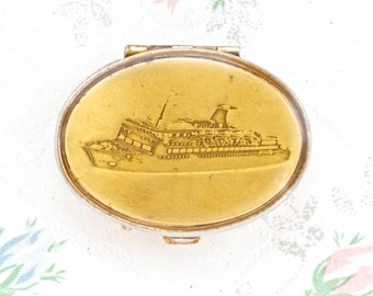 Cruise Liner Ship - Vintage Oval Pill Box