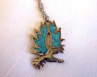 Turquoise Bird Pendant Necklace, Turquoise Inlay Pendant, Turquoise Jewelry