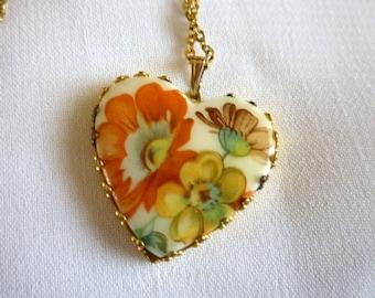 Porcelain Heart Pendant Necklace signed Korea