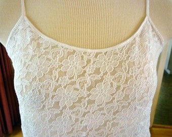 Small Stretchy White Lace Camisole, Vintage Lingerie