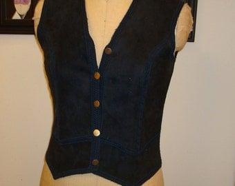 Blue suede unisex vest