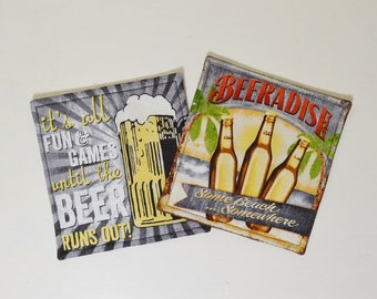 Beer Mug Rugs - Funny Beer Sayings Coasters - Retro Man Cave Decor - Beer Lover Gift - Gift for Him - Home Brewer Gift - Bottles