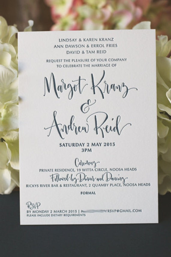 Modern Calligraphy Wedding Invitations : Modern Calligraphy Wedding Invitation - Custom Design - Letterpress ...
