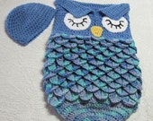 Blue owl baby cocoon and beanie