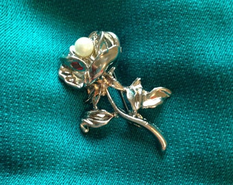 Silver Tone Rose Brooch with Pearl, Scarf Brooch, Brooch Accessory