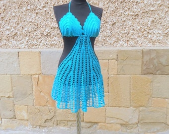 SUMMER SALE Aqua Blue Cover Up, Turquoise Beach Dress, Aqua Crochet, Beach Cover Up, Resort Wear, Boho Tunic, Swimwear Cover Up