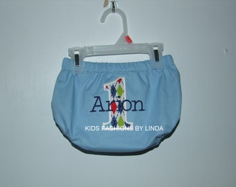 Personalized Birthday Number  Light  Blue /Argyle  Diaper Cover