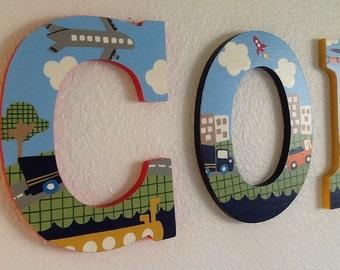 Custom Painted Boy's Letters - Airplanes / Submarine / Trucks