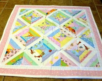Doll Quilt - Patchwork in Pastels - Reversible