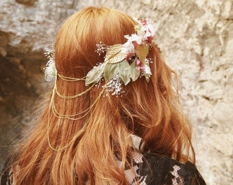 Natural preserved flower crown with chains