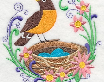 Robin Nest Embroidered Flour Sack Hand/Dish Towel