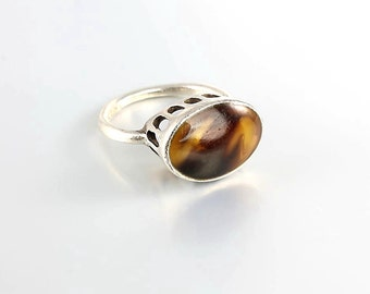 Tortoise shell Sterling silver Ring, Modernist Tall Middle Finger Ring size 6.75, Vintage Jewelry