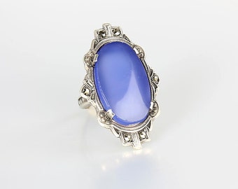 Art Deco Chalcedony Ring, Blue Sterling silver Marcasite size 5 ring, Antique Jewelry