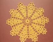 "Yellow crochet doily, 10"""