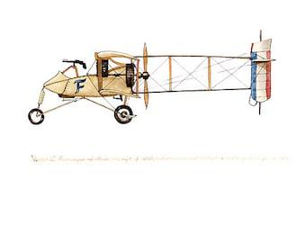 """Voisin III vintage airplane watercolor print, 8""""x10"""""""