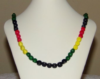 Rasta Necklace, Wood Necklace, African Color Jewelry, Beaded Necklace, Handmade Necklace, Black Necklace, Jamaican Jewelry, Long Necklace