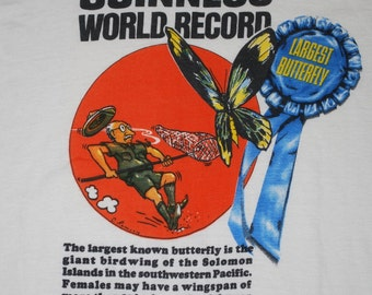 Guinness World Record Largest Butterfly Shirt 1975 vintage