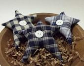 3 Large Blue Plaid Stars Bowl Fillers ~ Home Decor ~ Country Primitives Miniatures