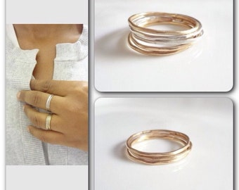 Stacking Rings, Sterling Silver, 14K Gold Filled, Stacked, Stack,  Band, Handmade Jewelry, Jewellery, Weddings, Bridesmaids
