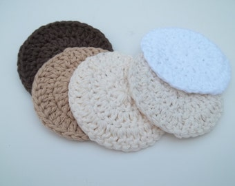 Cotton Face Cloths - Set of 5 in Brown, Tan, White and Natural
