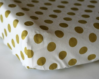 Gold Dot Changing Pad Cover, Baby Girl Nursery Bedding, Modern Change Mat Cover, Custom Baby Nursery Bedding, Metallic Gold Sparkle Dot