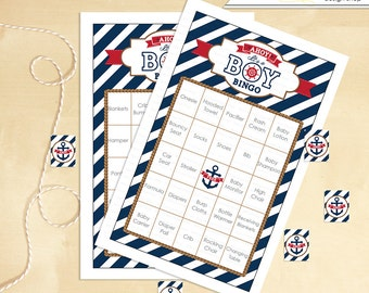 Nautical Baby Shower Bingo 60 Cards Anchor - Instant Download