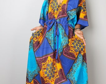 African Dress / Caftan Dress with African Print : Bohemian Kaftan Collection No.1