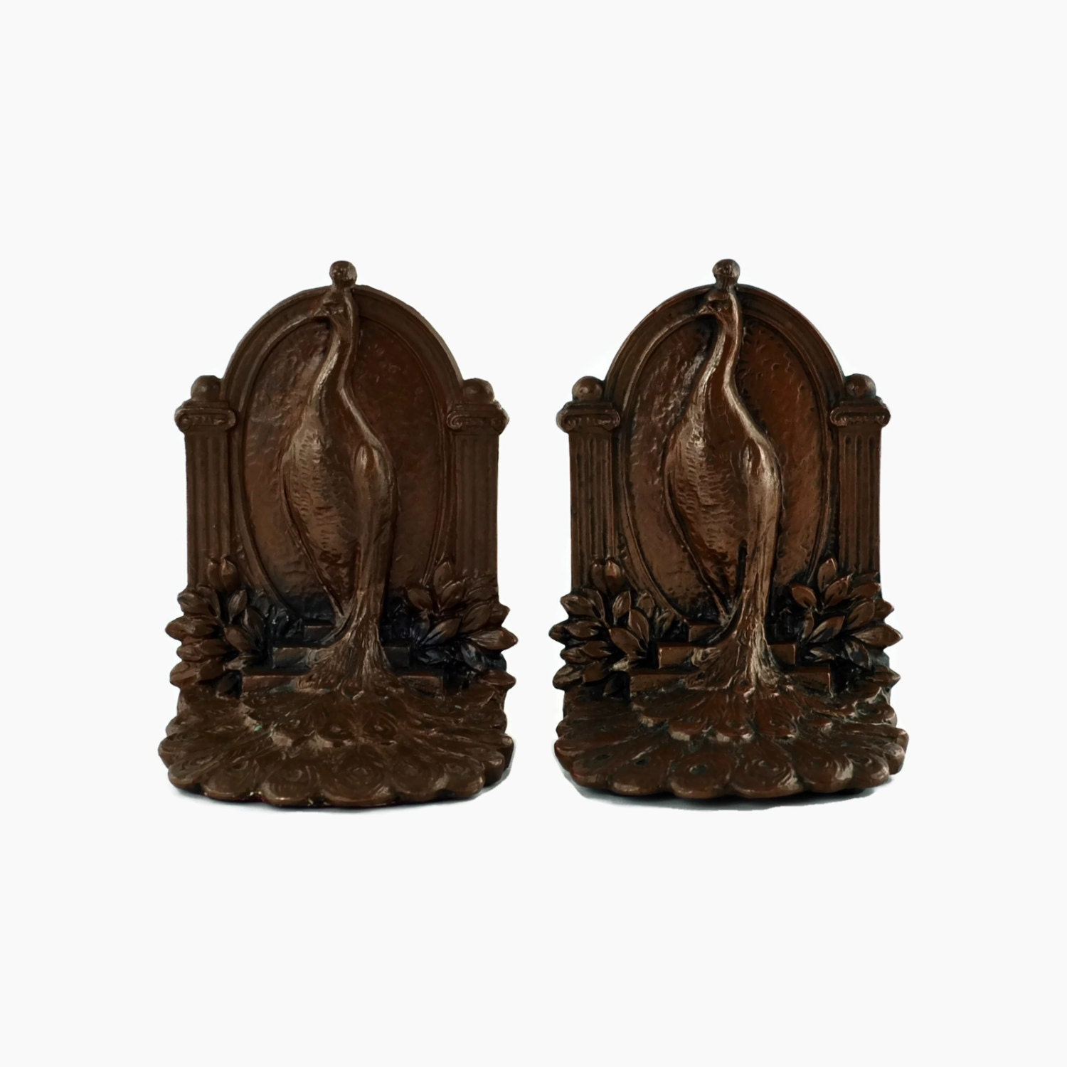 Antique weidlich brothers peacock bookends with a bronze - Antique brass bookends ...