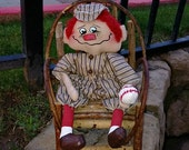 Primitive Baseball Boy Player Andy Handmade Art Doll Raggedy  TOSCOFG