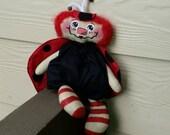 Handmade Primitive Raggedy Annie Ladybug Cloth Doll TOSCOFG