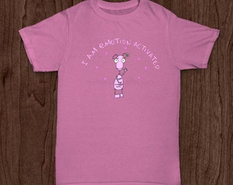 Pink Shirt with Funny Girl Light Pink Robot for a girl or a young woman or mother print Mug Shirt or phone case