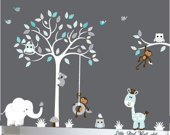 White tree decal, childrens, nursery tree decal, decal owls, tree decal nursery, kids wall decal, childrens room decor, decor tree decal