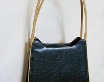 Vintage Gucci Embossed Black and Beige Leather Purse