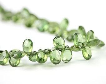 Apatite Faceted Pear Briolettes 4 Apple Green Semi Precious Gemstones