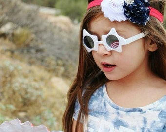 Fourth of July triple shabby headband Red/White/navy Blue  with a bow embellishment. Infant, toddler, child, adult sizes