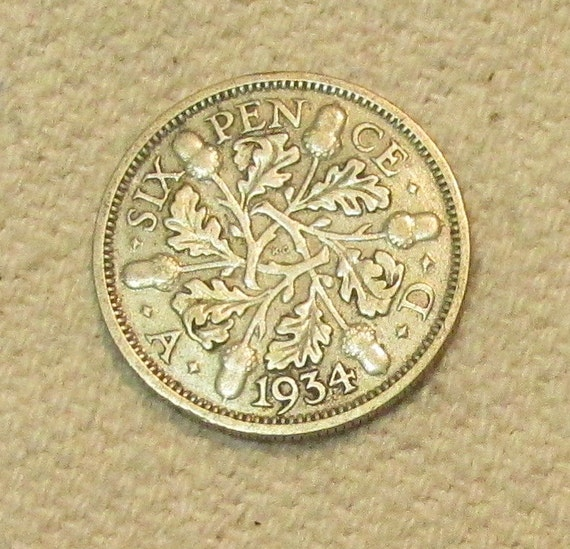 6 Pence Wedding Gift : 1934 Wedding Great Britain silver sixpence, 6 pence, world coin of the ...