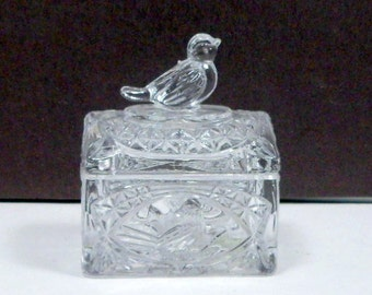 Jewelry Box Trinket Box Ring Box Lead Crystal Hofbauer Byrdes Germany Bird Finial Vintage 1984