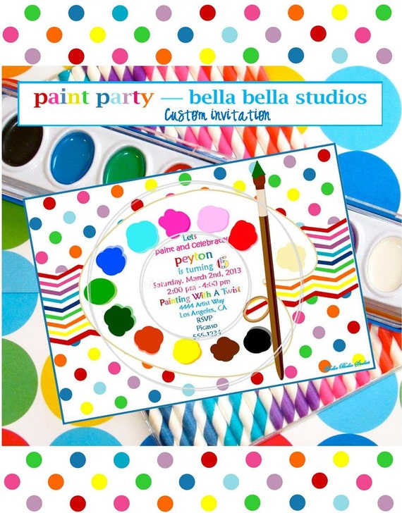 PAINTING - ART Birthday Party Customized PRINTABLE Invitation -  Bella Bella Studios