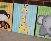 three little friends . animal nursery art . 16x20 canvas . set of 3, giraffe, monkey, elephant . custom colors . original painting