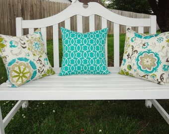 OUTDOOR Pillow Covers Teal Lime Floral Peacock Teal Geometric Pillow Covers Deck Patio Pillows