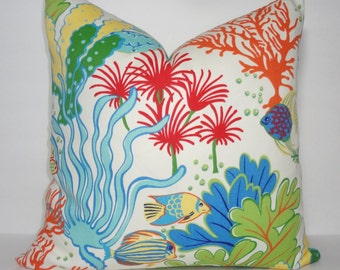 OUTDOOR Ocean Fish Coral Blue Pillow Outdoor Pillow Cushion Covers Porch Pillow Pool Pillow