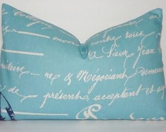 Blue French Script Pillow Cover French Penmanship Decorative Lumbar Pillow Cover Throw Pillow 12x18